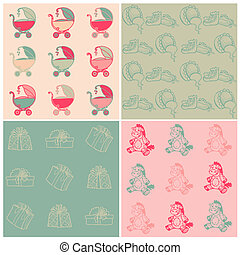 Set of Seamless Baby Backgrounds - hand drawn in vector