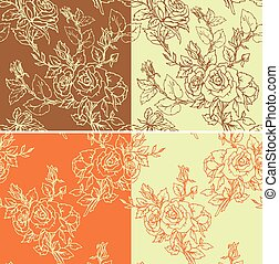 Set of seamless backgrounds - Floral Seamless Pattern with hand