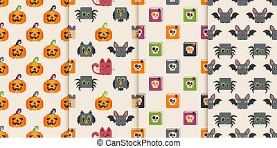 Set of Seamless Backgrounds with Colored Halloween Icons