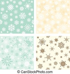 Set of seamless backgrounds with snowflakes