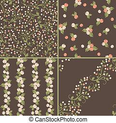 Set of seamless berries patterns