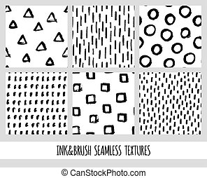 Set of seamless black and white vector free hand doodle textures, dry brush ink art.