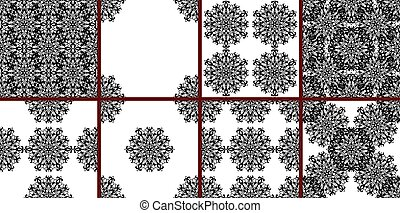 Set of seamless black and white vintage patterns