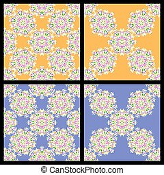 Set of seamless blue and orange vintage patterns