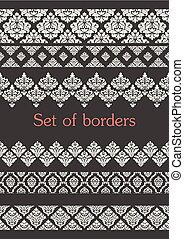 Set of seamless borders. Border decoration elements