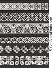 Set of seamless borders. Border decorative elements.