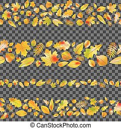Set of seamless borders from autumn leaves. EPS 10 vector