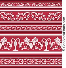 Set of seamless borders in the eastern style of painting. Ornament of white flowers and curls on a red background.