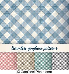 Set of seamless checkered gingham patterns - Set of seamless...