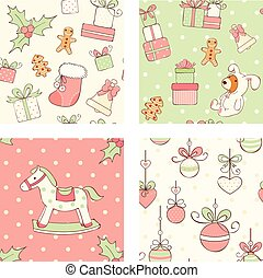 Set of seamless Christmas patterns in retro style