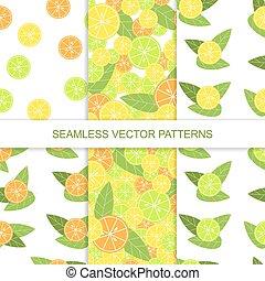 Set of seamless citrus pattern. Lemon pattern. Lime pattern. Orange pattern. Vector illustration