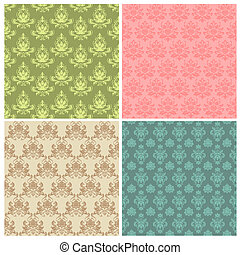 Set of Seamless Colorful Damask Wallpaper Patterns in vector
