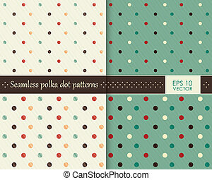 Set of seamless colorful polka dot patterns