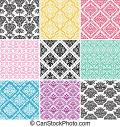 Set of seamless damask backgrounds.