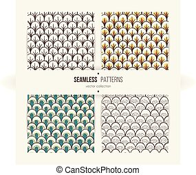 Set of seamless doodle patterns like fish scale.