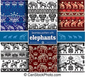 Set of seamless ethnic pattern with elephants