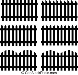 Set of seamless fences black silhouette