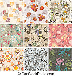 seamless floral background - set of seamless floral...