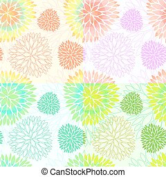 Set of seamless floral blossom patterns