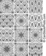 Set of seamless floral patterns. Vector illustration.
