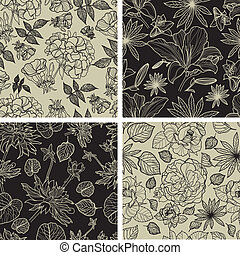Set of seamless floral patterns - Vector set of seamless...