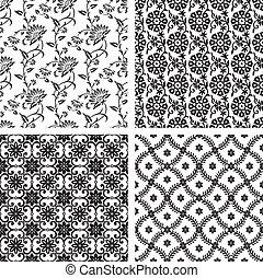 Set of seamless floral wallpaper