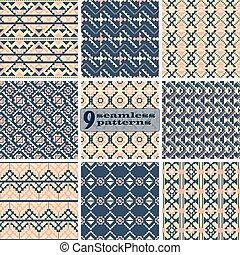 Set of seamless geometric patterns with ethnic motifs - Set...
