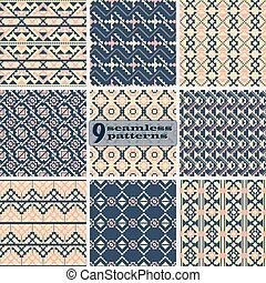 Set of seamless geometric patterns with ethnic motifs - Set...