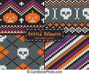 Set of seamless Halloween  patterns.