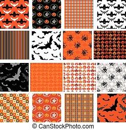 Set of seamless halloween patterns