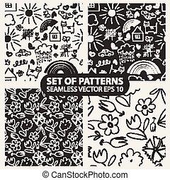 Set of seamless hand drawn patterns