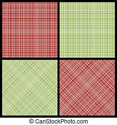 Set of seamless hatch patterns - Vector set of red and green...