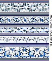 Set of seamless horizontal borders or ethnic style Gzhel porcelain painting.