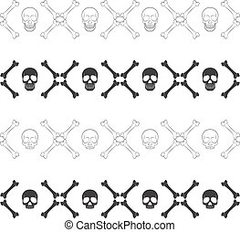 Set of seamless horizontal patterns with skull and bones