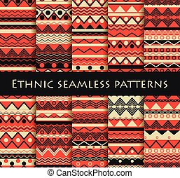 Set of seamless in ethnic style. Tribal textiles, hippie...