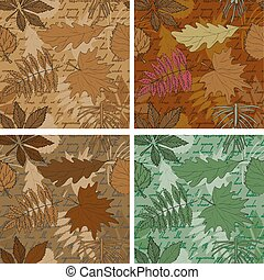 Set of seamless leaves backgrounds