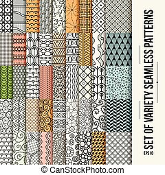 Set of seamless line patterns.