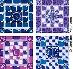 Set of seamless mosaic patterns - Blue and purple ceramic tiles