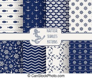 Set of seamless nautical patterns
