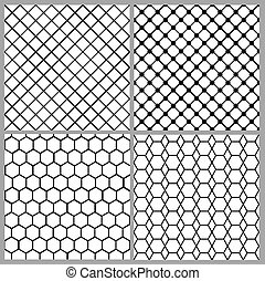 Set of seamless net patterns for lace design
