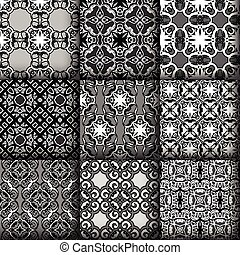 Set of seamless ornamental pattern