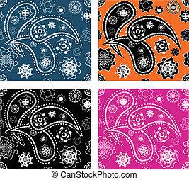 Set of seamless paisley patterns