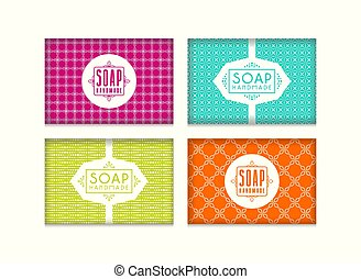 Set of seamless pattern and labels for handmade soap packaging