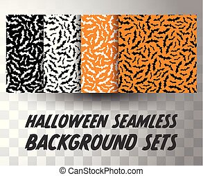 Set of seamless pattern bats with different colour background