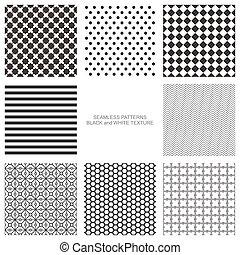 Set of seamless pattern, black and white