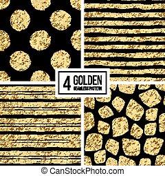 Set of seamless pattern  gold stripes or strokes, polka dots, mosaic spots