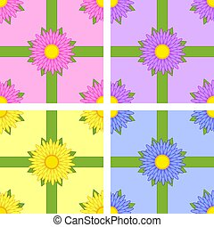 Set of Seamless pattern of flower varieties Aster pink, yellow, blue, purple with green ribbons on color background
