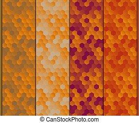 Set of seamless pattern of hexagons