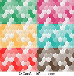 Set of seamless pattern of hexagons