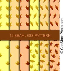 Set of seamless pattern with autumn leaves, vector illustration